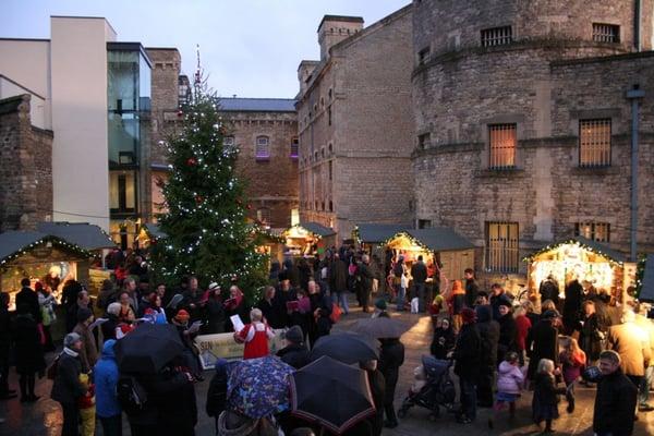 Christmas Market Stalls Winter Tree