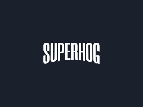 SUPERHOG logo with black background