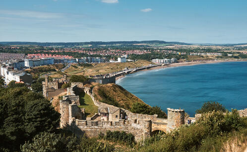 View of Scarborough town and seaside