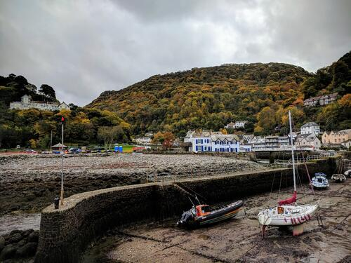lynmouth harbour at low tide in autumn