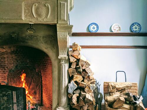 cozy fireplace and stack of wood