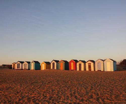 the 'royals' beach huts on Sothwold promenade