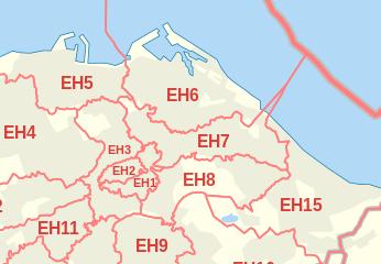 Edinburgh map postcodes area