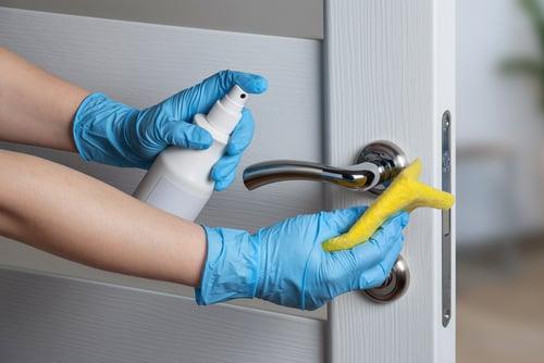 using antiseptic on door handles