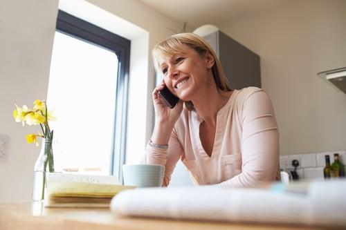 friendly woman on phone