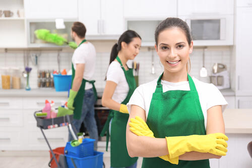 cleaning service team at work in kitchen