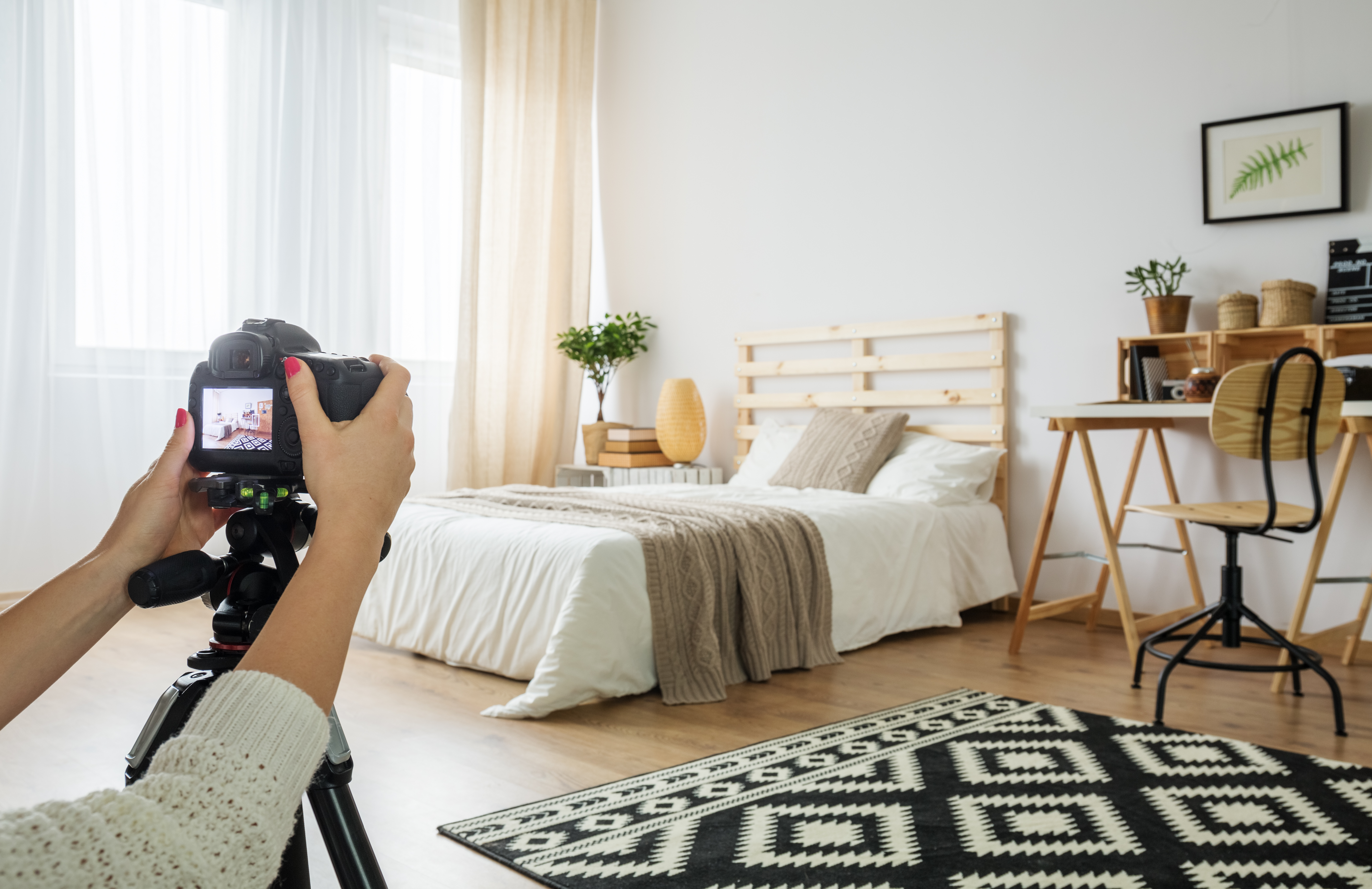 photographing a modern bedroom