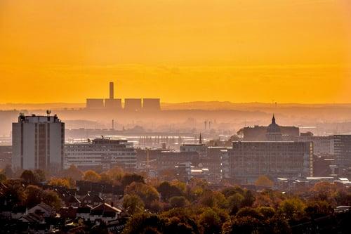 autum haze skyline of nottingham